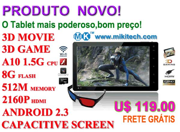 Foto 1 - Tablet PC 7 suporta 3d video e 3d jogo -- mikitech